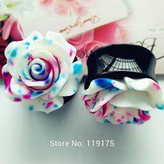 Blue Floral Rose Ear Plug Tunnel UV Acrylic Ear Gauge 1 Pair Body Ear Expander Piercing Jewelry