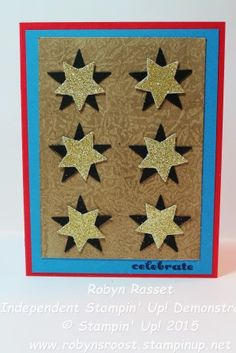 Gold Glimmer Stars Fusion Challenge With a Wax Paper Resist Bacground www.robynsroost.stampinup.net