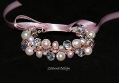 Pink Bridal BraceletBridal JewelryBridesmaid Pearls by CyShell