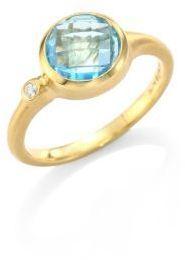 Carelle Blue Topaz & Diamond Stack Ring