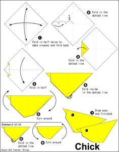 Poussin origami facile pour les jeunes enfants – Origami Community : Explore the best and the most trending origami Ideas and easy origami Tutorial Dragon Origami, Origami Yoda, Kids Origami, Origami Paper Art, Origami Folding, Origami Instructions, Origami Tutorial, Diagrammes Origami, Origami Insects