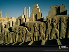 The ancient city of Persepolis in modern-day Iran was one of four capitals of the sprawling Persian Empire. Built beginning around 520 B.C., the city was a showcase for the empire's staggering wealth, with grand architecture, extravagant works of silver and gold, and extensive relief sculptures such as this one portraying envoys with offerings for the king.   The height of Persian rule lasted from about 550 B.C. until 330 B.C., when Alexander the Great overthrew the ruling Archaemenid…