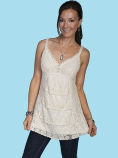 Scully Sweet Lace Camisole Ivory at Cowgirl Blondie's Dumb Blonde Boutique