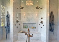 Giant marble master bathroom shower with bench and two shower heads /// Woodridge Parade of Homes Tour by Atkinson Drive Master Bathroom Shower, Parade Of Homes, Good House, Interior Designing, Shower Heads, House Tours, Beautiful Homes, Marble, Bench