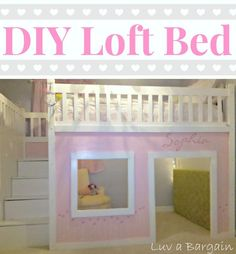 I love love love this DIY project for a dreamy loft bed & girl's playhouse - oh and there is storage!