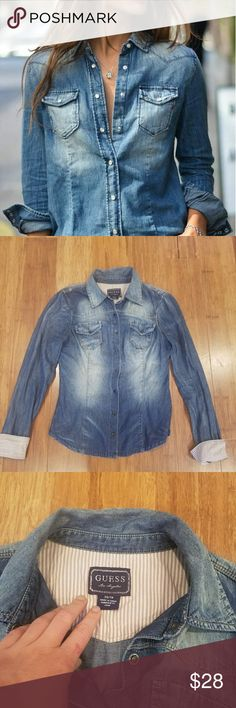 Guess fitted denim shirt Guess fitted denim shirt with front pockets and striped cuffs.  Only selling because it is now too small. EUC. Guess Tops Button Down Shirts