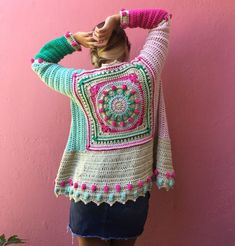 Boho fashion ideas, hippie sweater Crochet Bolero, Crochet Coat, Crochet Winter, Crochet Cardigan Pattern, Crochet Jacket, Crochet Blouse, Love Crochet, Crochet Granny, Beautiful Crochet