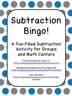 Subtraction Bingo - A great way to have your students practice their 3-digit subtraction with and without regrouping.  Available for free!