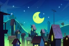Houses: Colorful animation background