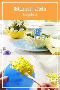 Osternester aus Luftballons basteln As a cute decoration or a homemade gift for loved ones: it's so Easter Baskets, Homemade Gifts, Pin Collection, Decoration, Serving Bowls, Balloons, Tableware, How To Make, Crafts