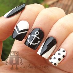 80 Winter Black and White Nail Art Designs - Nails C Nautical Nails, Chevron Nails, Fabulous Nails, Gorgeous Nails, Get Nails, Hair And Nails, Black And White Nail Designs, Black White, Pretty Black