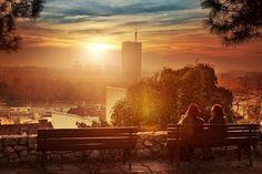 Belgrade sunset, Serbia, terasa na kalemegdanu,pogled na savu i ck