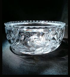 A beautiful American Brilliant cut glass bowl by Hawkes.  Measures 6 inches in dia by 3 inches high. Bowl is in pristine condition - no chips, scratches, or other blemishes.  $50.00