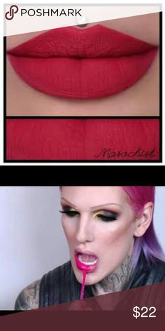 """💋JEeffree Star's Masochist!! Gorgeous!!💄 🌷Jeffree's Velour Lipstick in """"Masochist""""!!  The color of crushed berries on ice. This dark pink matte lipstick is cool toned and extremely addictive.  🌹This color is AMAZING! One of my absolute favorites!! It looks from cherry red to a bright pink! Its just so versatile, and the formula is so comfortable, and is not over drying , or crumbly..Its a great long wearing formula.  💸 Bundle 3+ items!! $ave!  🍒Make -Up makes a great gift for graduates…"""