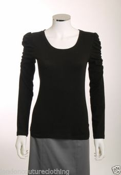 LOVE CULTURE BLACK LONG RUCHED SLEEVE SCOOP NECK TOP SIZE MEDIUM