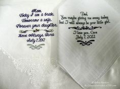 Embroidered Wedding Hankerchiefs By Canyon Embroidery. $47.50, via Etsy.