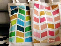 The Phenomenal Mama: {Phenomenal Tip} DIY Handpainted Canvas Bags by Whimsical Sushi Painted Canvas Bags, Kids Bags, Diy Painting, Sushi, Totes, Whimsical, Diy Crafts, Hand Painted, Colours