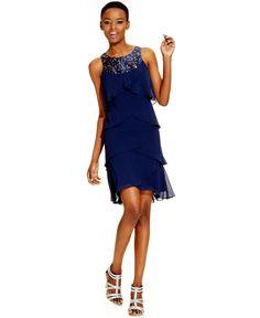 SL Fashions Embellished-Neck Tiered Dress - Dresses - Women - Macy's