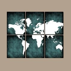 Turquoise world map canvas print art 3 panel split triptych turquoise world map canvas print art 3 panel split triptych matte black background for home or office wall decor interior design blank walls gumiabroncs Image collections