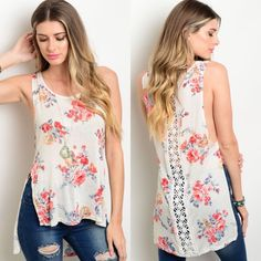 Sleeveless Crochet Back Ivory Top w/ Floral Roses New with tags. This sleeveless and lightweight top features floral print all over, crochet detail along center back, and has slits on both sides. The back is longer than the front. Available in S, M, and L.                                                                          96% rayon, 4% spandex.                                             Made in USA. Boutique Tops Tank Tops