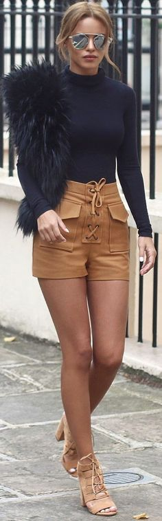 Camel Lace Up Leather Shorts Fall Inspo by Nada Adellè