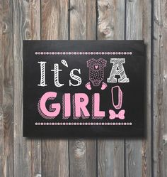 Printable Its A Girl Sign–Chalkboard Sign–Gender Reveal Chalkboard-Printable Gender Announcement Sign-Baby Girl Poster-Instant Download-BG2