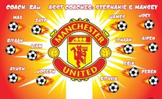 Manchester United B53830  digitally printed vinyl soccer sports team banner. Made in the USA and shipped fast by BannersUSA.  You can easily create a similar banner using our Live Designer where you can manipulate ALL of the elements of ANY template.  You can change colors, add/change/remove text and graphics and resize the elements of your design, making it completely your own creation.