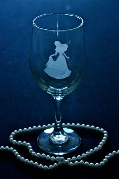 Disney Princess Aurora Etched Wine Glass...I need this in my life!