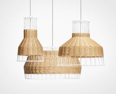 White, black or natural colored rattan is intertwined with a steel framework to create a pleasing hand woven pattern of peekaboo light. Mounts to ceiling. Materials Powder-coated steel frame and canopy. Paper rattan. Cloth-covered cord. DIMENSIONS:19.7'' H x 12.4'' W x 12.4'' D WEIGHT: 10LB BULBS: 1 x 150W max 120V Incandescent lamp (not included) LAMP TYPE: Incandescent LED Compact Fluorescent