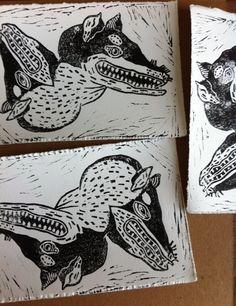 Weasels linocut print