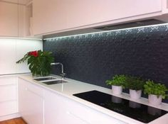 white cabinets pressed metal splashback - Google Search