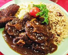 Jamaican oxtail is made with different spices that suit the oxtail. Beans and rice, and vegetables are a popular side dish with this meal. It is eaten on special occasions.