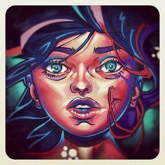 Bondi Colour on a Grey Autumn Day #streetart #atbondi #bondi #graffiti #sydney #colour #eyes #face