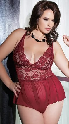 6884f15d625 You re sure to be a beauty in this plus size burgundy mesh teddy featuring  a lace banded waist