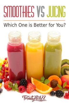 Find out the benefits of making smoothies vs. juicing and vice versa... #smoothies #juicing Healthy Juice Recipes, Healthy Juices, Smoothie Recipes, Healthy Drinks, Smoothie Diet, Blender Recipes, Healthy Eats, Diet Recipes, Vegan Recipes