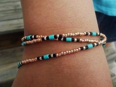 Copper & Turquoise Anklet/Bracelet by Michellescustomjewelry for $5.00 http://www.zibbet.com/Michellescustomjewelry