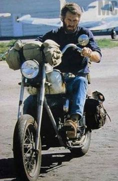 Steve McQueen riding his rat Indian chopper, the m/c he loved all the way up until the end!