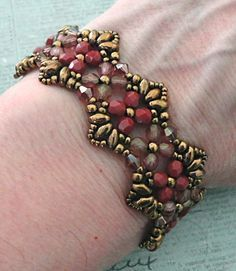 Linda's Crafty Inspirations: Bracelet of the Day: Flutter - Rose & Bronze