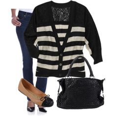 Pair a striped cardi with two toned flats for a cute daytime look - all available at walmart.com! $13-$44 #winterfashion #trends