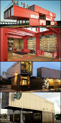 Puma and Starbucks have used recycled shipping containers to build eco-friendly stores. Very nice! If you're looking for container inspiration, you'll find it on our site at theownerbuilderne. Would you be prepared to tackle a container conversion? Shipping Container Restaurant, Shipping Container Buildings, Shipping Container Design, Container House Design, Shipping Containers, Container Architecture, Pavilion Architecture, Building Design, Building A House