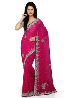 Buy Dark Fuchsia Faux Georgette Saree with Blouse online, work: Embroidered, color: Fuschia, usage: Wedding, category: Sarees, fabric: Georgette, price: $127.48, item code: SSRA17, gender: women, brand: Utsav