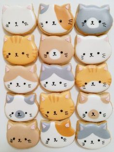 37 Best Ideas For Cookies Royal Icing Decorating Baking Cat Cookies, Fancy Cookies, Cookies Et Biscuits, Cupcake Cookies, Baking Cupcakes, Birthday Cookies, Kawaii Cookies, Summer Cookies, Cookie Favors