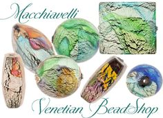 Macchiavelli, my favorite new bead of the year. They are authentic Venetian Glass Beads with abstract designs over White Gold Foil and encased in clear Murano Glass. #venetianbeads