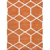 Found it at Wayfair - City Orange Geometric Rug - love this rug with the dark floors.  It would look great in my living room with my new furniture!