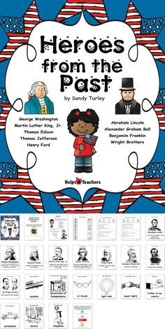 This packet includes 9 black and white pictures of  American heroes from the past and 9 black and white pictures of these heroes contributions. It also includes 2 activities that highlight these heroes and their contributions.   The American Heroes covered are listed below:  Abraham Lincoln George Washington Thomas Jefferson Martin Luther King Jr. Alexander Graham Bell Wright Brothers Benjamin Franklin Thomas Edison Henry Ford