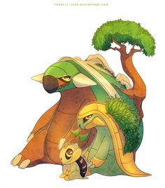 Turtwig Grotle and Torterra by francis-john