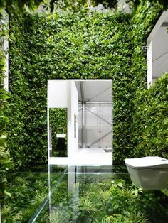 Unique bathroom concept & green wall created by Kenya Hara for a three week-long exhibition in Tokyo focusing on the future of the Japanese house.