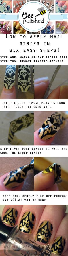 How to apply nail wraps/apps/strips These can be store bought or self made ones. Hot Nails, Hair And Nails, Nails Decoradas, Hot Nail Designs, Nail Tape, Homemade Beauty Products, Nail Tutorials, Nail Stamping, Nails Inspiration