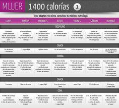 Una dieta de 1400 calorías para mujer. Variada y rica