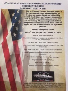 Cullman, AL - Sept. Proceeds will be split between 3 Hots and a Cot, Still Serving Veterans, and the Gary Sinise Foundation. Gary Sinise Foundation, Soldier Love, Poker Run, Motorcycle Events, Cot, Alabama, Event Ticket, Charity, Biker